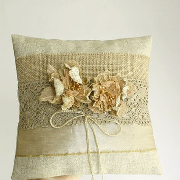 Shabby Chic Ring Bearer Pillow spring summer Wedding beige linen burlap flowers earthy rustic  lace golden
