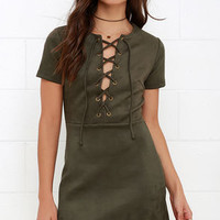 Closet Renovation Olive Green Suede Lace-Up Dress