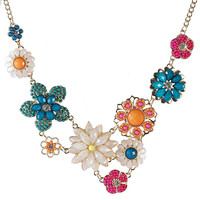 Charming Flower Stylish Spring Color Bib Necklace