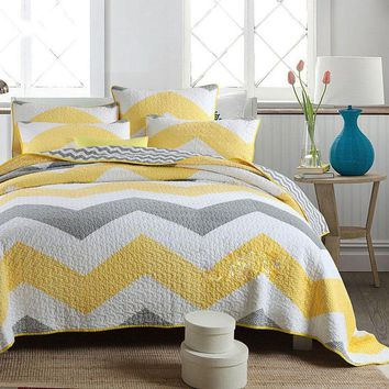 CHAUSUB Handmade Patchwork Quilt SET 3PC Washed Cotton Quilts Quilted Bedspread Bed Cover King Size Bedding Coverlet Yellow