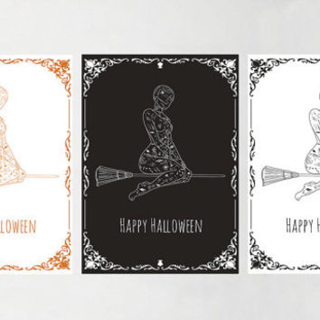 "SALE - Happy Halloween Card, Witch on Broomstick, Printable Halloween Card -  5 x 7"" - jpg format"