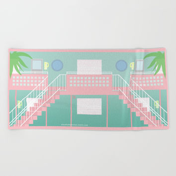 Motel Paradise Beach Towel by Claudia Duarte