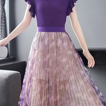 Knit Top and Pleated Skirt Set