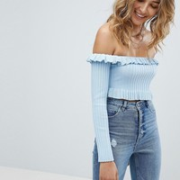 Missguided Frill Edge Bardot Top at asos.com