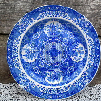 "Blue Transferware Spode Engravers Archive Collection ""Net"" Dinner Plate, England, 10 1/4"", Serving, Wall Decor, Chinese Plate, Asian Flare"