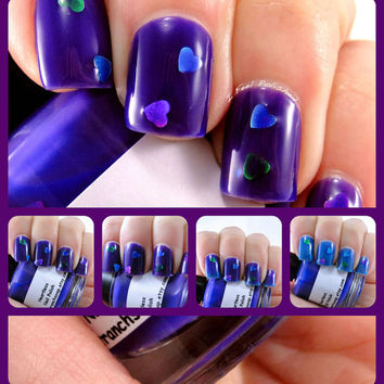 """Valentine's Day Color Changing Thermal Nail Polish - """"Heartless"""" - Blue to Purple - Temperature Changing - 0.5 oz Full Sized Bottle"""