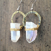 Raw Crystal Earrings Iridescent Crystal Earrings with Hammered Brass