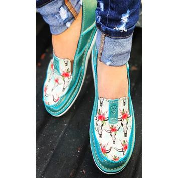 Ariat Women's Steers and Roses Shimmer Turquoise Cruisers #10024767