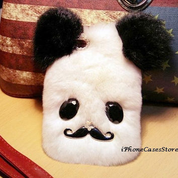 Fur iPhone 5 case Furry iPhone 4 case Mustache iphone case Leather iPhone 5 Panda iPhone 4s case Lovely Warm Winter Luxury iPhone cases skin