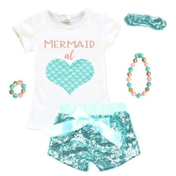 Mermaid At Heart Outfit Coral Scales Stripe Top And Shorts