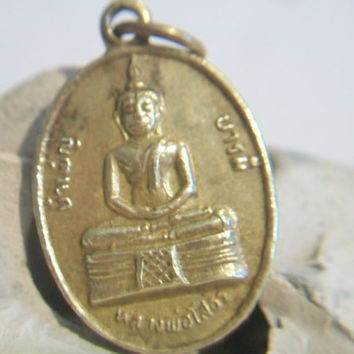 Vintage Meditating Buddha Medallion Pendant Oval Brass Jewelry Ethnic Asian