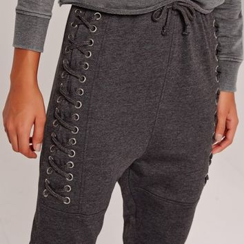 Missguided - SARAH ASHCROFT Lace Up Eyelet Size Joggers Charcoal