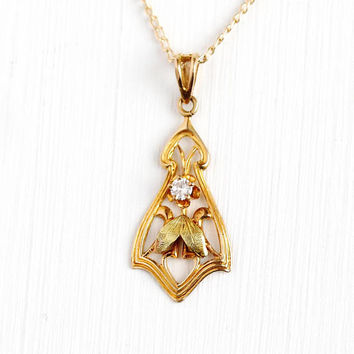 Antique Diamond Lavalier - Early 1900s Edwardian 10k Yellow Gold Necklace - Vintage Art Nouveau Green Gold Leaf Accents Pendant Jewelry