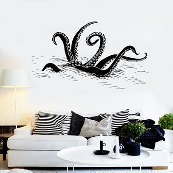 Vinyl Wall Decal Octopus Tentacles Wave Ocean Monster Stickers Unique Gift (ig4026)