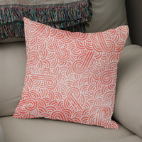 «Coral pink and white swirls doodle», Numbered Edition Coussin by Savousepate - From 25€ - Curioos