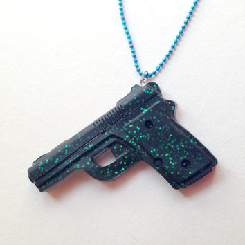 Black Glitter Gun/Resin Necklace/Long/Kitsch/Cute
