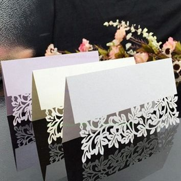 25PCS Hollow out Luxury Table Name Place Cards Wedding Christmas Birthday Party Invite Cards Table Decoration Favor