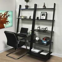 Best Choice Products® Leaning Shelf Bookcase with Computer Desk Office Furniture Home Desk Solid Wood