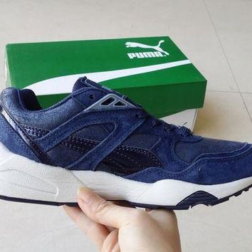 DCCKIJ2 Puma Trinomic R698 Crackle Suede Running Sport Casual Shoes Sneaker Blue