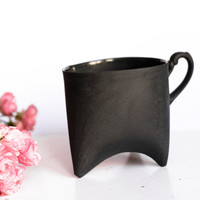 Ceramic mug, black china cup, ceramic cup handbmade coffee cup or tea cup by Endesign