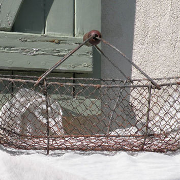French vintage large rustic wire basket, cottage chic, country house, wire basket, cottage basket, vintage wire basket, antique wire basket
