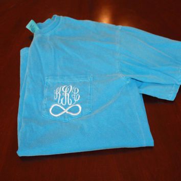 Comfort Color Monogrammed Pocket Tees With by TheInitialedLife