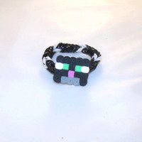 Fishtail loom bracelet in black & white, with cat charm, inspired by Minecraft.