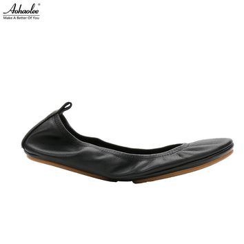 Aohaolee Fashion Brand Women Shoes Comfort Round Toe Leather Ballerina  Foldable Ballet Flats Portable Travel Flats 888e69324f44