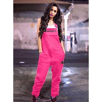 Champion Summer Fashionable Women Casual Overalls Jumpsuit Rose Red