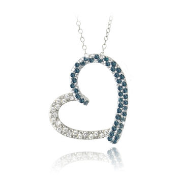 Sterling Silver 2/5ct Blue Diamond & White Topaz Open Floating Heart Necklace