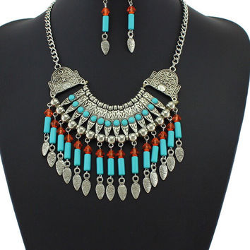 The Kerry Tribal Inspired Turquoise & Crystal Tassel Statement Necklace Set