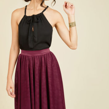 Tulle of the Trade A-Line Skirt in Burgundy | Mod Retro Vintage Skirts | ModCloth.com