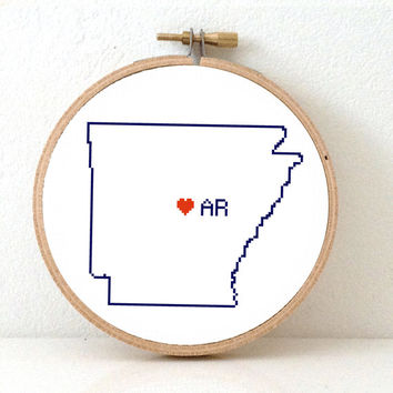 ARKANSAS Map Cross Stitch Pattern. Arkansas state embroidery pattern. Arkansas ornament pattern with Little Rock. AR decor.