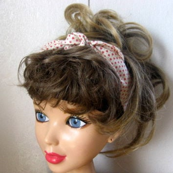 Hair Scarf, Bandana, Hair Bandana, Bandana Headband, Tiny Hearts Hair Band, Hair Scarf, PinUp Bandana, Knotted HairBand, Boho Head Band