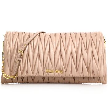 Miu Miu Matelasse Pink Leather Chain Wallet Shoulder Bag 5MT290