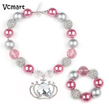 Pink & Silver Princess Crown Bubblegum Chunky Necklace & Bracelet Set