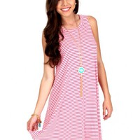 A Good Heart Pink And White Striped Dress | Monday Dress Boutique