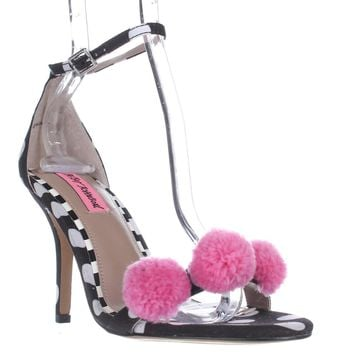Blue by Betsey Johnson Lylly Puff Ankle Strap Sandals, Black Polka Dot, 8 US
