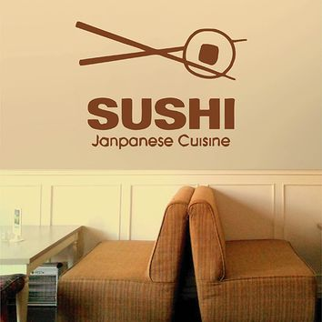ik2766 Wall Decal Sticker Asian food sushi Japanese restaurant stained glass