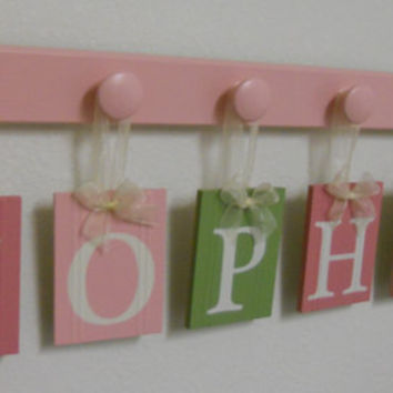 Wooden Wall Nursery Letters Pink and Green -  Personalized for SOPHIE - 6 Wooden Hooks Pastel Pink Wall Decor