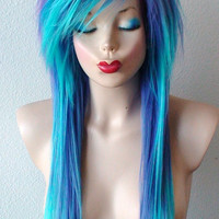 Scene wig. Emo hair Teal/ Purple wig. Long straight hair side bangs scene hairstyle wig for daily use or cosplay.