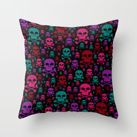 Skull Danger Throw Pillow by Alice Gosling