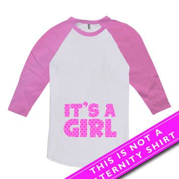 Pregnancy Announcement T Shirt Pregnancy Reveal Baby Announcement It's A Girl New Baby Girl Gift American Apparel Unisex Raglan MAT-658