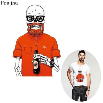 Prajna Zombie Heat Transfers Red Drunkard Stickers Punk Skull Rock Iron On Patch For Fashion Man Clothing T-shirt Jean DIY Coat