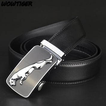 WOWTIGER Fashion NEW belt Genuine leather men alloy Luxury jaguar belt business 3.5cm belts for men
