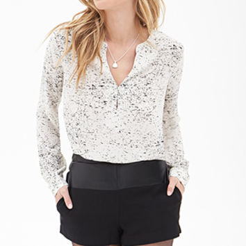 LOVE 21 Speckled Blouse Cream/Black