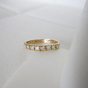 14k Vintage Genuine Diamond Antique Natural Diamonds Solid Yellow Gold Art Deco Edwardian birthstone stacking wedding band ring