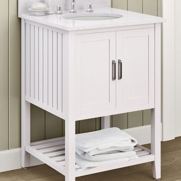 Adelino White Bath Vanity with Marble Top