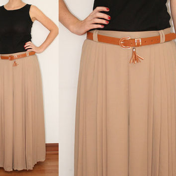 Wide Leg Pants Palazzo Pants in Ecru Brown for Women