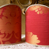 Pair of Clip-On Shield Shades Cherubino Rubelli Red and Gold Silk Damask Mini Lampshade